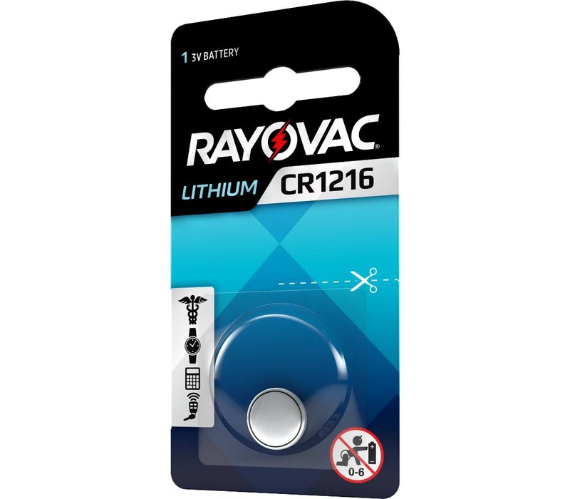 Rayovac Lithium CR1216 3V knoopcel Blister 1 - 1 pakje