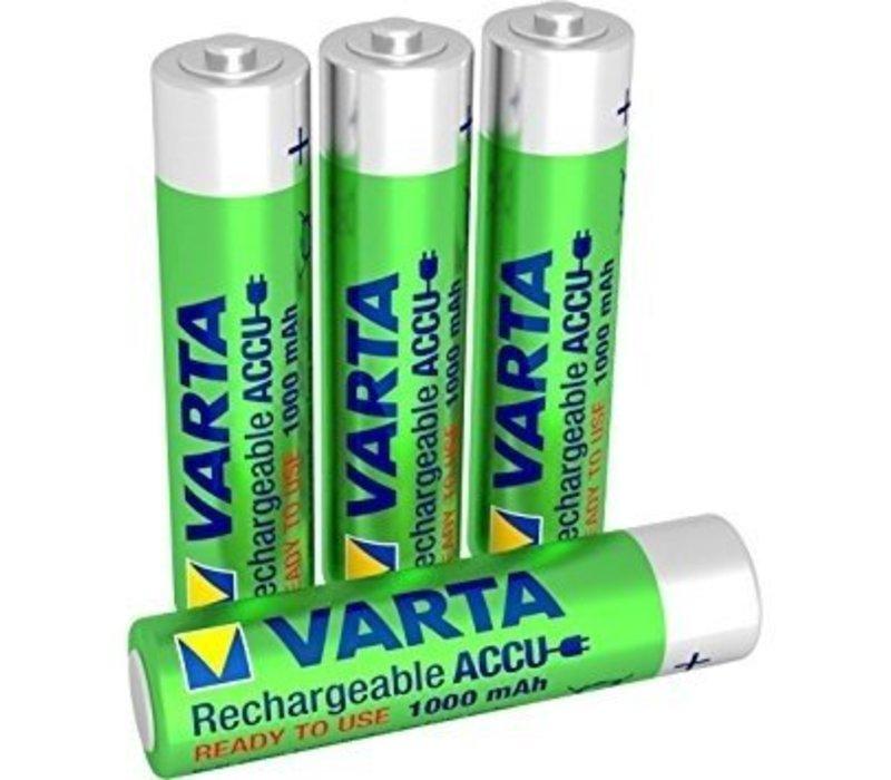 Varta AAA 1000mAh rechargeable (HR03) - 1 collis (4 piles)