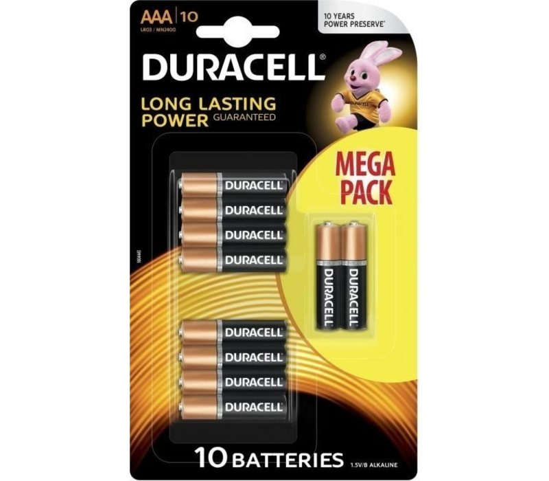 Duracell Alkaline Basic AAA Micro (LR3) - 1 pack (10 batteries)