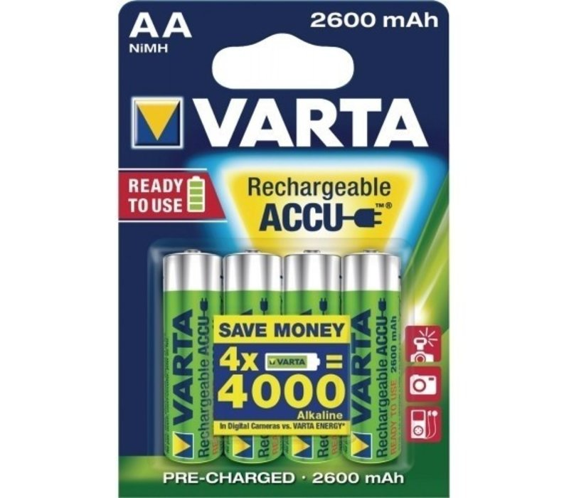 Varta AA 2600mAh rechargeable (HR6) - 1 pakje (4 batterijen)