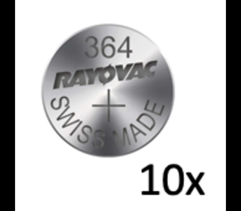 Rayovac Silver 364 QX 1,55V knoopcel - strip met 10 batterijen