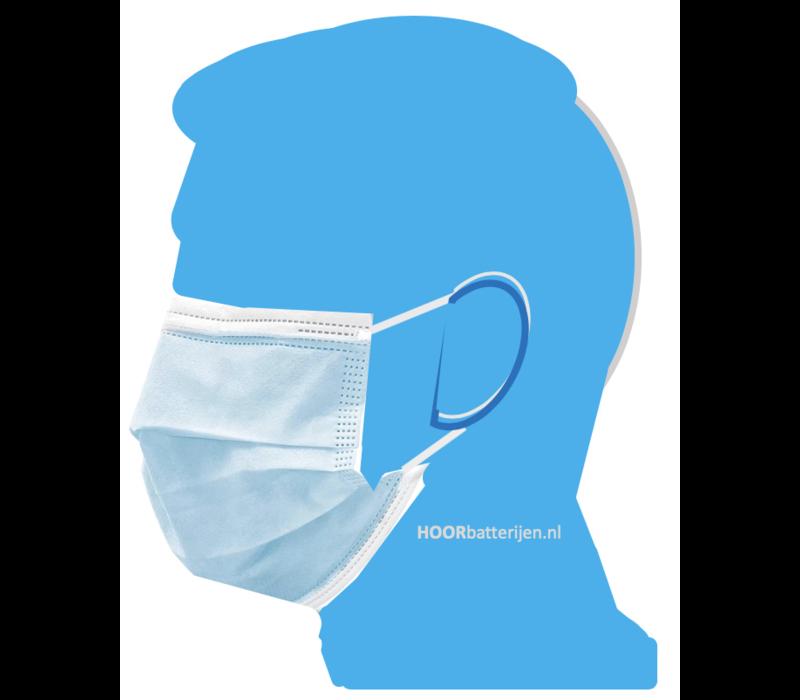 Mondkapje type II, mondmasker 3-laags, 5 stuks. Voor eenmalig gebruik met oorringlus.
