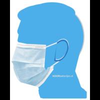 Mondkapje type II, mondmasker 3-laags, 20 stuks. Voor eenmalig gebruik met oorringlus.