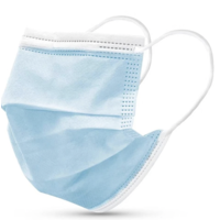 Masque buccal type II,  Masque respiratoire 3 couches, 100 pièces. Usage unique avec boucle d'oreille.