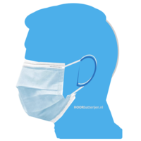 Mondkapje type II, mondmasker 3-laags, 100 stuks. Voor eenmalig gebruik met oorringlus.