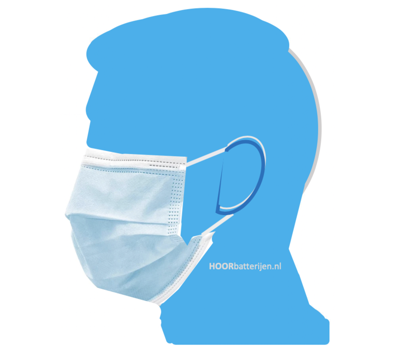 Face mask type II, mouth mask 3-layer, 100 pieces. Single use with earring.