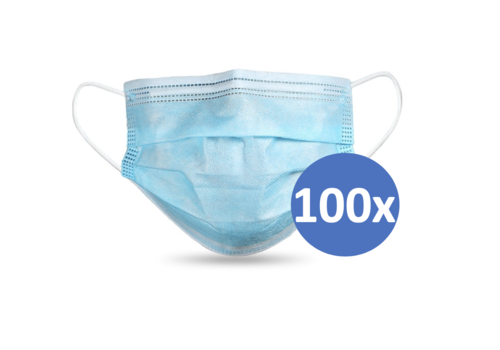 Face mask type II, mouth mask 3-layer, 100 pieces. (Disposable mask)