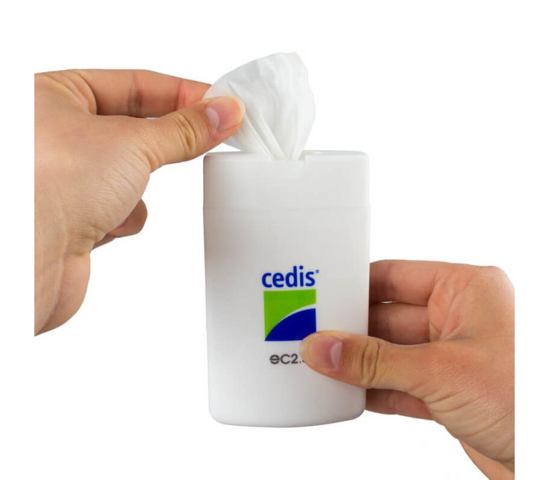 Cedis cleansing wipes (25x) in a handy compact dispenser