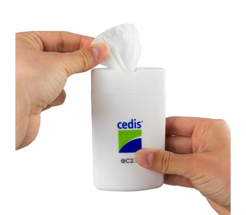 Cedis reinigingsdoekje (25x) in handige compacte dispenser.