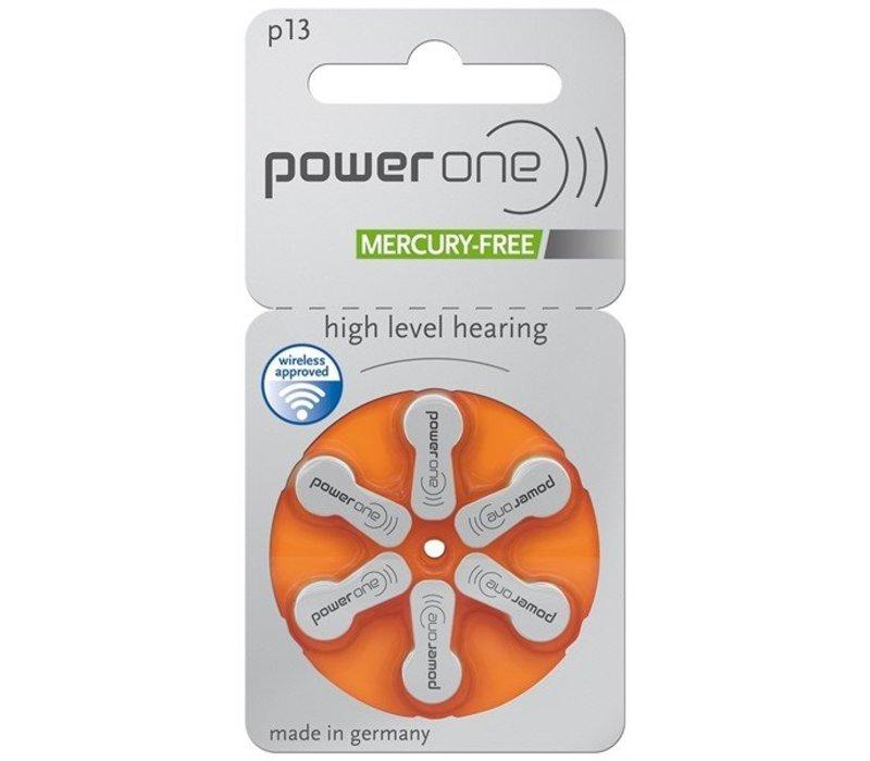 PowerOne p13 (PR48) - 30 pakjes (180 batterijen) met gratis batterijbox sleutelhanger
