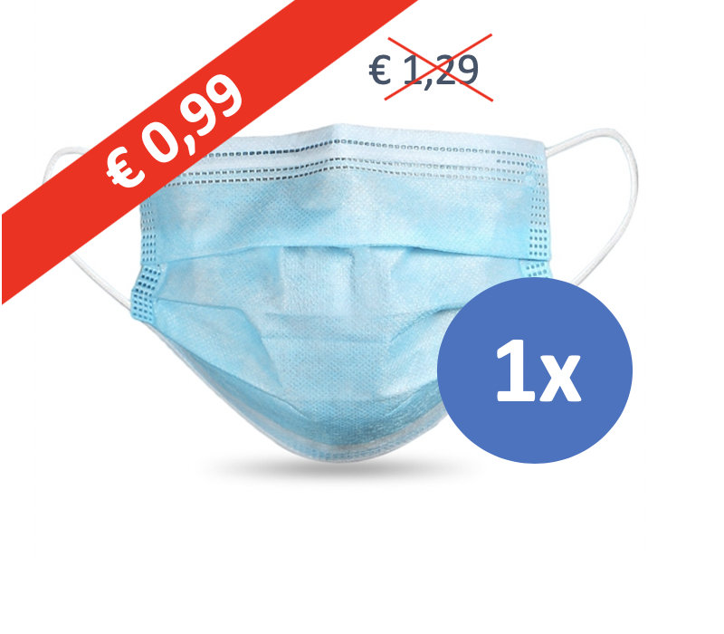 Face mask type II, mouth mask 3-layer, 1 piece. Single use with earring.