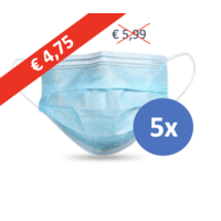 Face mask type II, mouth mask 3-layer, 5 pieces. Single use with earring.