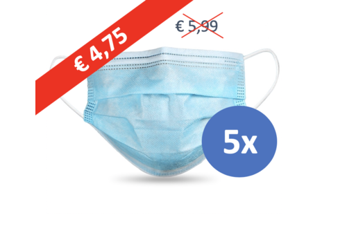 Face mask type II, mouth mask 3-layer, 5 pieces. (Disposable mask)