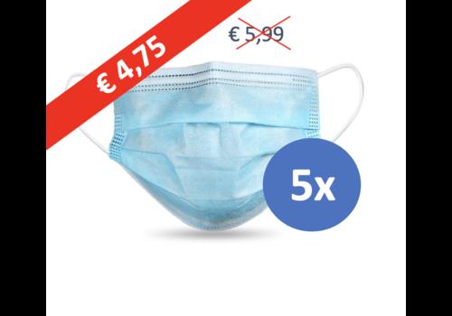 Masque buccal type II,  Masque respiratoire 3 couches, 5 pièces. (Masque jetable)