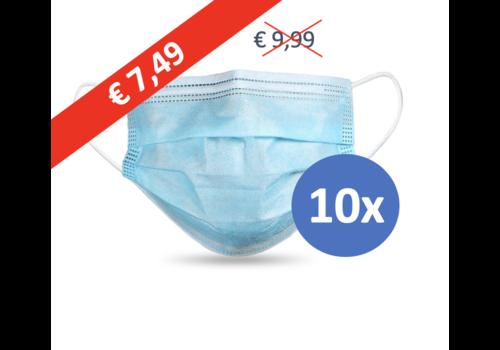 Masque buccal type II,  Masque respiratoire 3 couches, 10 pièces. (Masque jetable)