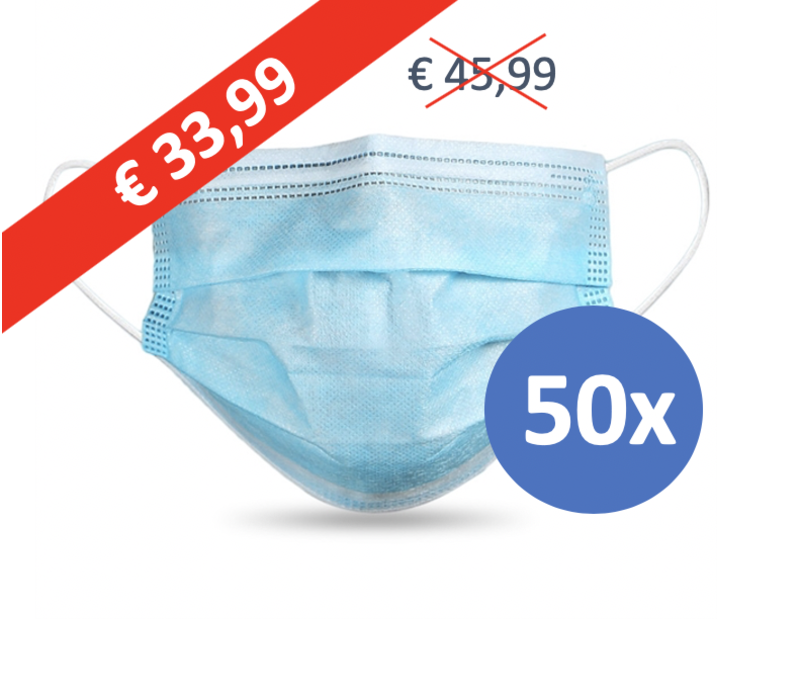 Face mask type II, mouth mask 3-layer, 50 pieces. Single use with earring.