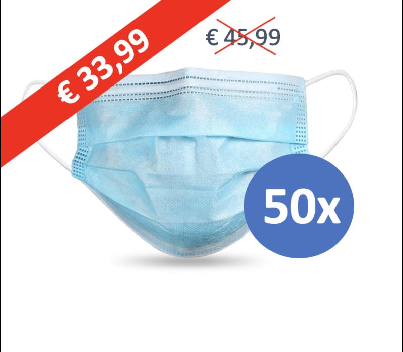 Masque buccal type II,  Masque respiratoire 3 couches, 50 pièces. Usage unique avec boucle d'oreille..