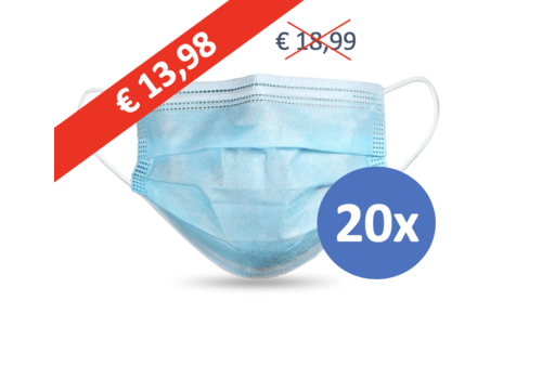 Face mask type II, mouth mask 3-layer, 20 pieces. (Disposable mask)