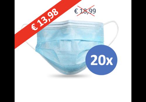Masque buccal type II,  Masque respiratoire 3 couches, 20 pièces. (Masque jetable)
