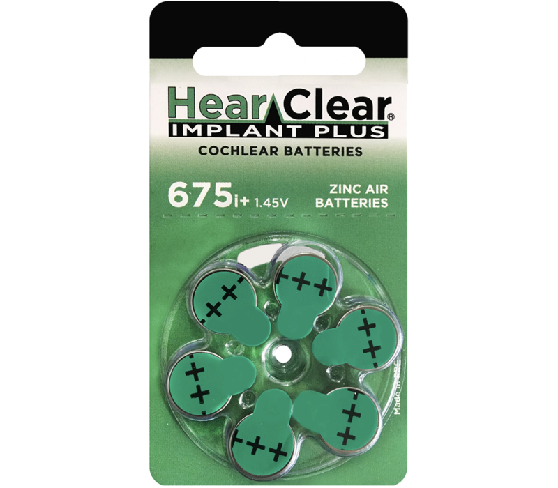 HearClear 675i+ (PR44) Implant Plus - 1 blister (6 cochlear implant batteries)