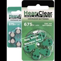 HearClear 675i+ (PR44) Implant Plus - 1 pakje (6 cochleair implantaat batterijen)