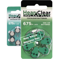 HearClear 675i+ (PR44) Implant Plus - 100 blisters (600 cochlear implant batteries)
