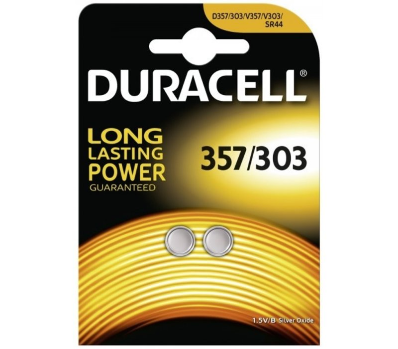 Duracell SR44 / V76PX / V357 / V303 silver oxide (S) 1,55V button cell battery - blister 2