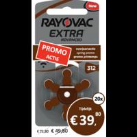 Rayovac 312 (PR41) Extra Advanced - 20 pakjes (120 batterijen)