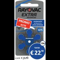 Rayovac 675 (PR44) Extra Advanced - 10 pakjes (60 batterijen)