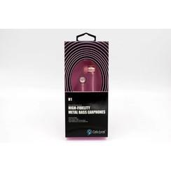Earphone Metal Bass Pink Celebrat (8719273225820)