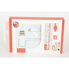 2in1 Imitatie Micro USB Kabel - Wit
