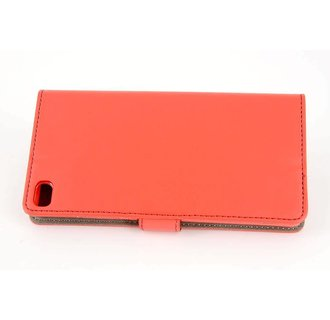 Huawei  P8 Pasjeshouder Rood Booktype hoesje - Magneetsluiting - Kunststof;TPU
