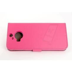 HTC One M9 Pasjeshouder Roze Booktype hoesje - Magneetsluiting - Kunststof;TPU