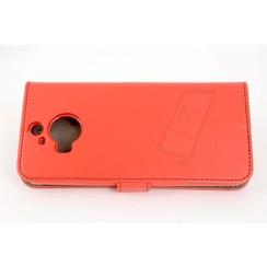 HTC One M9 Pasjeshouder Rood Booktype hoesje - Magneetsluiting - Kunststof;TPU