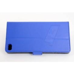 Huawei  P8 Pasjeshouder Blauw Booktype hoesje - Magneetsluiting - Kunststof;TPU