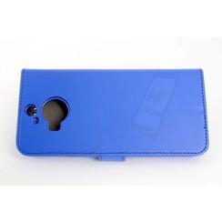 HTC One M9 Pasjeshouder Blauw Booktype hoesje - Magneetsluiting - Kunststof;TPU