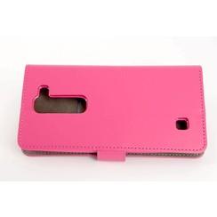 LG Optimus G4 Pasjeshouder Roze Booktype hoesje - Magneetsluiting - Kunststof;TPU