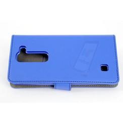 LG Optimus G4 Pasjeshouder Blauw Booktype hoesje - Magneetsluiting - Kunststof;TPU