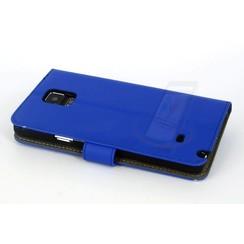Samsung Galaxy Note4 Pasjeshouder Blauw Booktype hoesje - Magneetsluiting - Kunststof;TPU