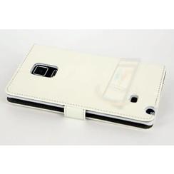 Samsung Galaxy Note4 Pasjeshouder Wit Booktype hoesje - Magneetsluiting - Kunststof;TPU