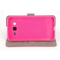 Samsung Galaxy J5 (2015) Card holder Pink Book type case for Galaxy J5 (2015) Magnetic closure
