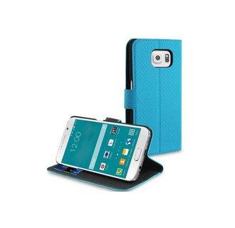 Samsung Galaxy S6 Pasjeshouder Blauw Booktype hoesje - Magneetsluiting - Kunststof;TPU