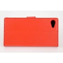 Sony Sony Xperia Z5 Compact Pasjeshouder Rood Booktype hoesje - Magneetsluiting - Kunststof;TPU