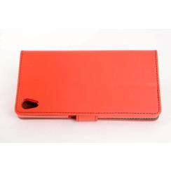 Sony Sony Xperia Z5 Pasjeshouder Rood Booktype hoesje - Magneetsluiting - Kunststof;TPU