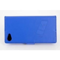 Sony Sony Xperia Z5 Compact Pasjeshouder Blauw Booktype hoesje - Magneetsluiting - Kunststof;TPU