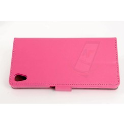 Sony Sony Xperia Z5 Pasjeshouder Roze Booktype hoesje - Magneetsluiting - Kunststof;TPU