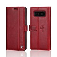 Pierre Cardin - Cognac - Leer Book case voor Samsung Galaxy Note 8 - Rood
