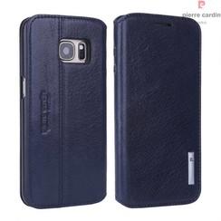 Samsung Galaxy S7 Titulaire de la carte Bleu Book type housse - Fermeture magnétique