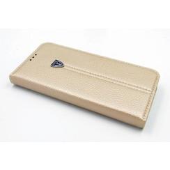 Samsung Galaxy S7 Edge Pasjeshouder Goud Booktype hoesje - Magneetsluiting - Kunststof;TPU