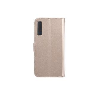 Samsung Galaxy A7 (2018) Pasjeshouder Goud Booktype hoesje - Magneetsluiting - Kunststof;TPU